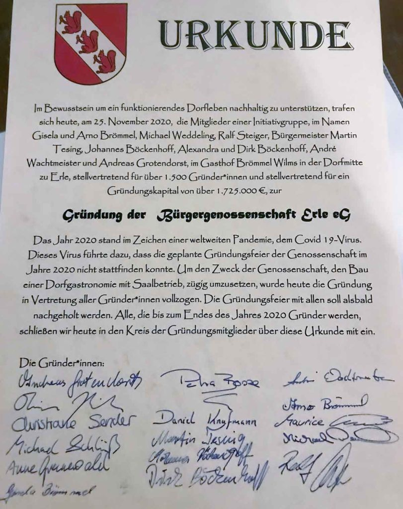 Urkunde-Unterschriften-Gründung-Bürgergenossenschaft-Erle